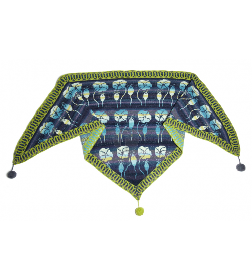 Summer meadow shawl dark blue- Christel Seyfarth